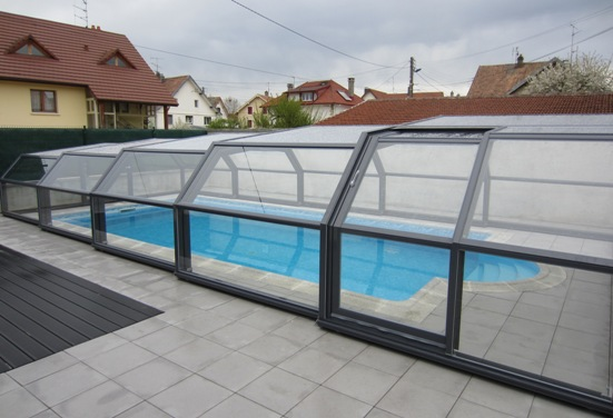 5 intermediate angles pool shelters shelter pool and for Abri piscine telescopique sans rail